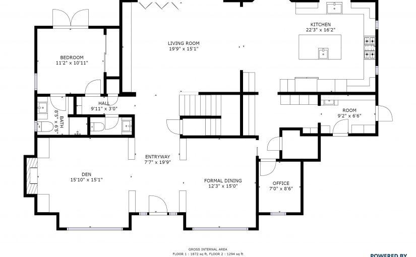 schematischer grundrissplan von einer immobilie matterport