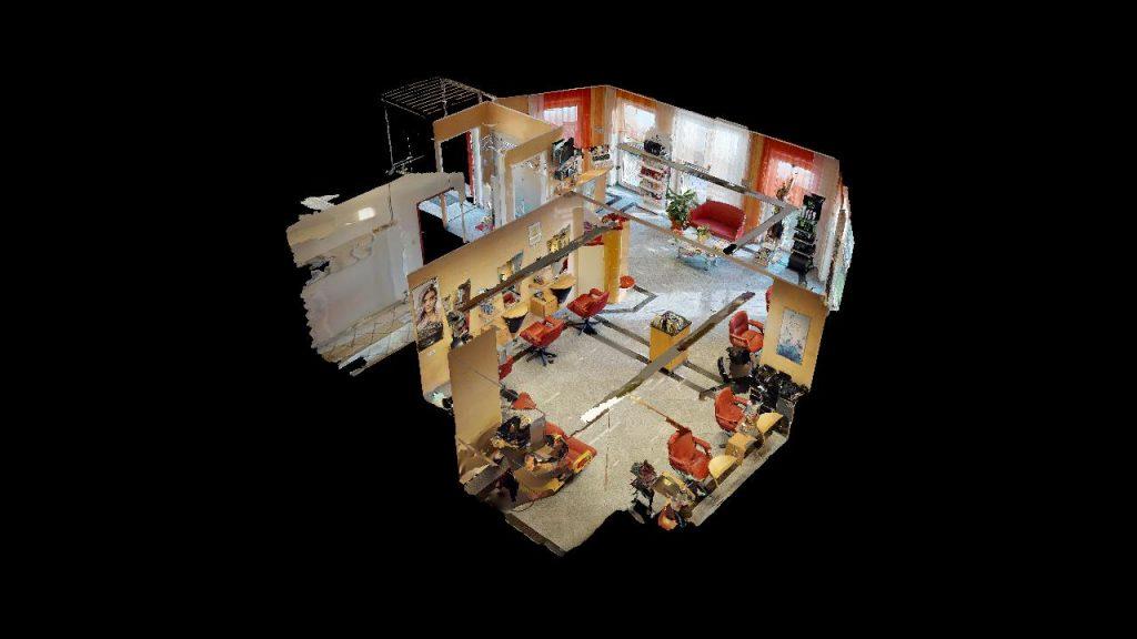 Virtuelles 3D Objekt Puppenhaus Ansicht von oben Frisiersalon Bettina in Stainz