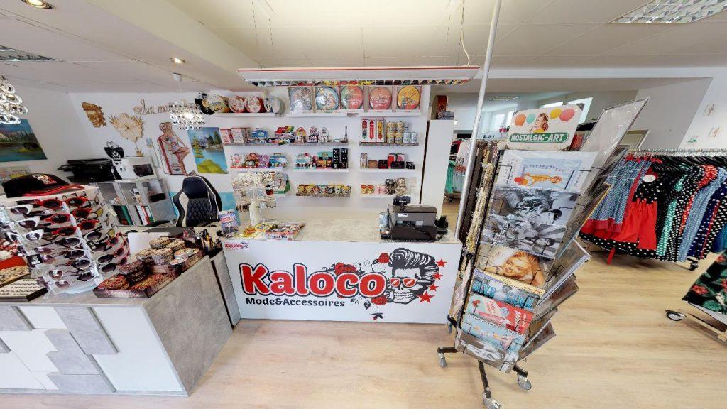 Eingangsbereich und Theke von Kaloco in Gleisdorf mit vielen Accessoires