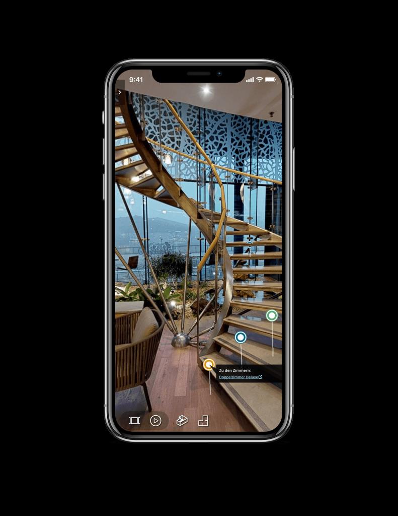 smartphone mit infopoints von virtuellen 3d rundgaengen